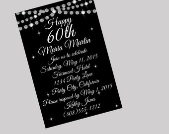 60th birthday invitation 60th birthday party 60th 60th birthday invitation 70th birthday invitation 80th invitation black invitation printable invitation filmwisefo Image collections