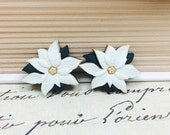 White Poinsettia Earrings, Christmas Earrings, Winter White, Holiday Accessories, Ivory Green and Gold Winter Flower Stud Earrings