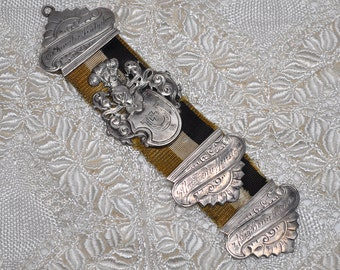 Antique Fraternity Medal Solid Silver on Grosgrain Ribbon from Germany 1890