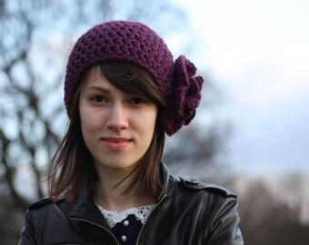 Women's Beanie Hat with Flower, Beanie Hat with Flower, Crochet Hat, Purple Hat, Spring Fashion Accessories