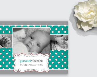 Photo Birth Announcement - Polka Dots for Boy or Girl - DEPOSIT