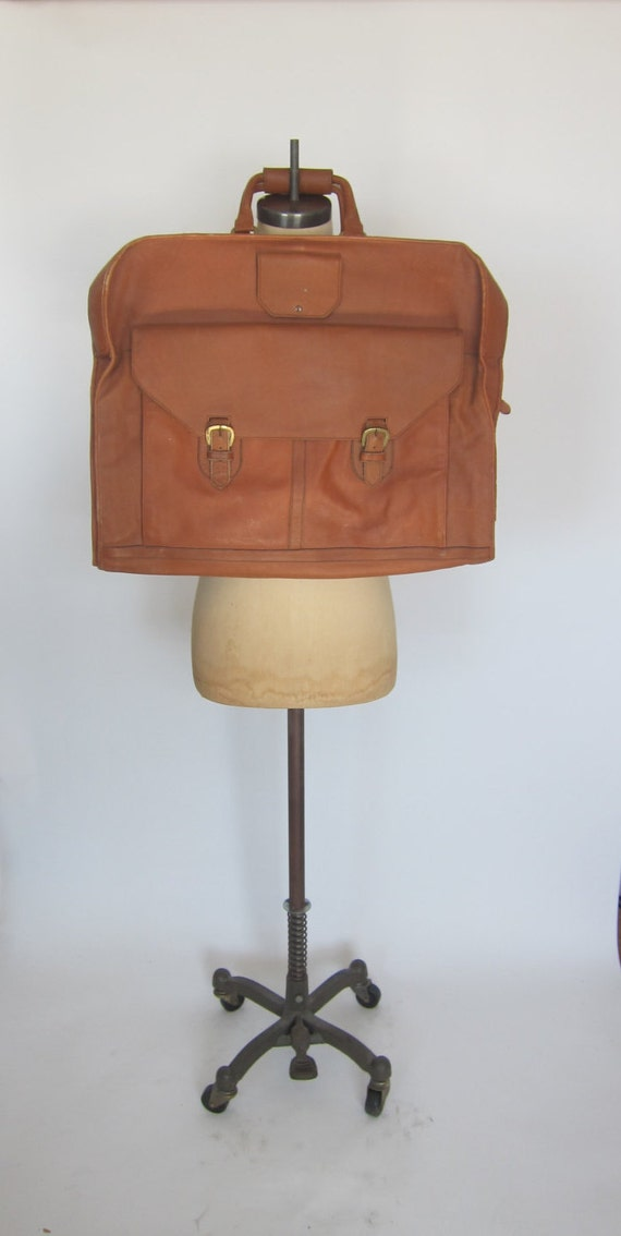 vintage leather garment bag light brown thick luggage