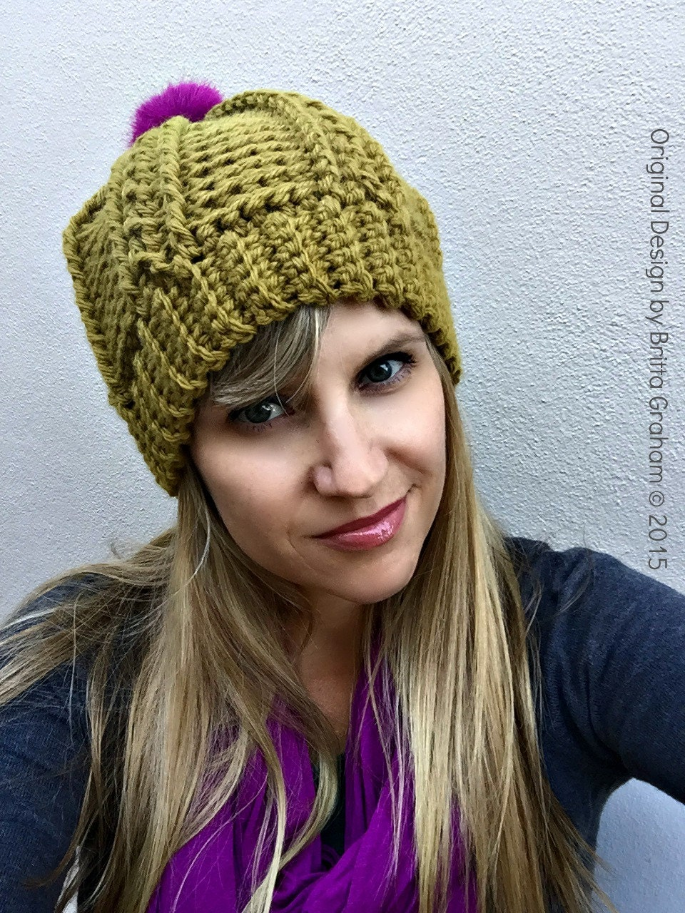 Womens Cable Beanie Crochet Pattern for chunky yarn No.250