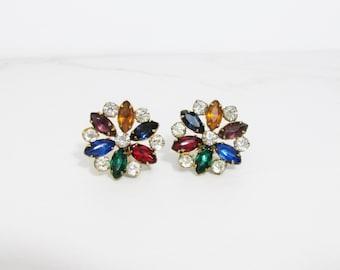 Vintage Earrings: Colorful Rhinestones, Screw on Earrings