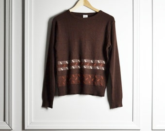 Top Sweater / Dark Brown Striped / Ethnic Inspired Woven Pattern / Boho / 70s Vintage / Small S Medium M