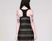 Black lace dress - fringe with halter back, wild boho bohemian chic clothing