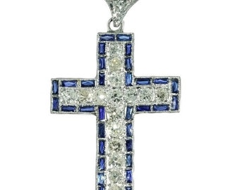 Blue Sapphire Cross diamond pendant platinum Art Deco jewel circa 1920