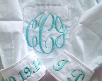 Monogrammed Bridal Shirt Pocket Monogram Bride's Shirt