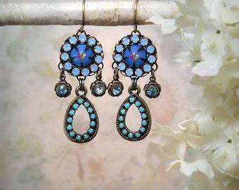 Still Waters - Royal Blue Crystal Earrings, Opal Blue Rhinestone Earrings, Boho Beach Wedding, Delicate Azure Turquoise Red Mosaic Earrings