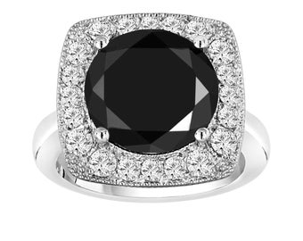 6.89 Carat Huge Fancy Black & White Diamond Engagement Ring 14k White Gold Unique Design Halo Ring handmade