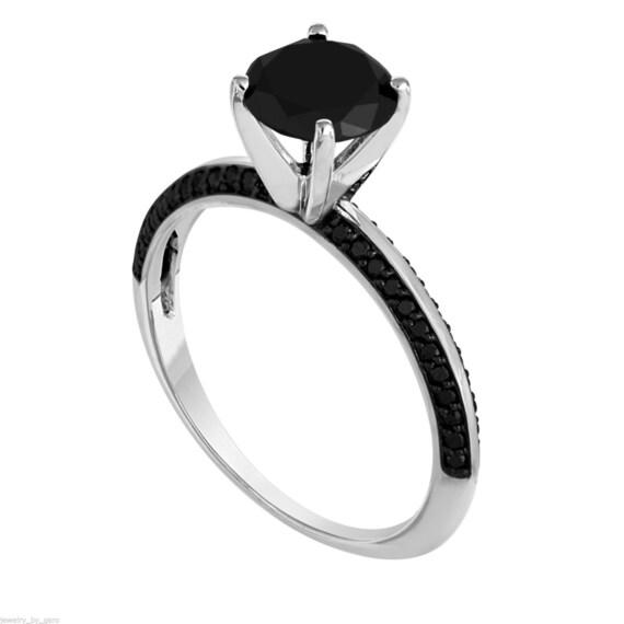 1.75 Carat Black Diamond Engagement Ring 14K White Gold Micro Pave Set handmade