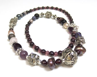 Gemstone Necklace, Amethyst Beads, Bali Style Silver, Pearls, Crystals, Gorgeous Necklace for Mom, Purple Necklace, Detailed Silver Beads