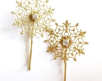 Gold Snowflake Bobby Pins Bridal Hair Clips Crystal Rhinestone Bride Bridesmaid Vintage Inspired Winter Wedding Accessories Womens Gift