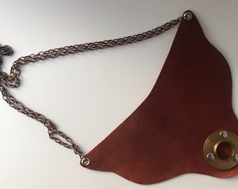 """Necklace-Leather and brass """"Abigail"""""""