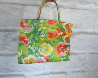 retro bright flower floral print work sectional tote vintage 60s 1960s mod vintage handle bag purse pin up kitsch indie women one size fun
