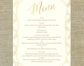"Gold Ornate Wedding Menu; 5x7"" customizable with your wedding colors"