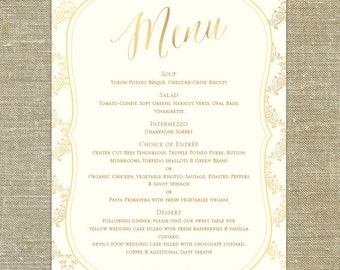"""Gold Ornate Wedding Menu; 5x7"""" customizable with your wedding colors"""