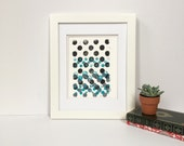Teal, soft grey, and black gradient dots art print 9x12 monoprint