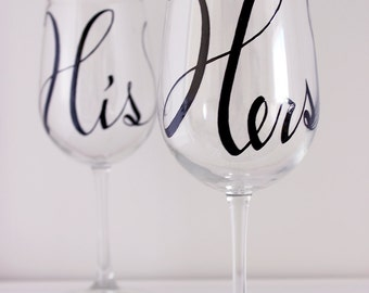 Large Written Calligraphy - His and Hers Hand Painted Wine Glasses - Set of 2