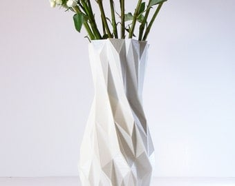 3D Printed White Vase Living Room Decor Modern Tall Vase - Modern Geometric Vase