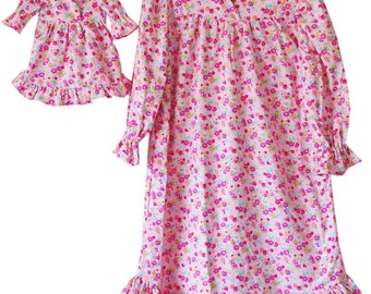 SALE - American Made Doll Girl Matching Pajamas - Nightgown, Pj's, Flannel, Pink, Floral, Traditional, Ruffles, Sleepwear, Set, SMALL