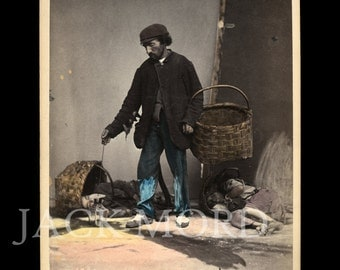 Rare Occupational 1870s Color Photo ~ Italian Night Watchman by Sommer