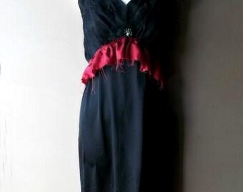 Romantic Slip Dress. Bohemian Chic Style. Black French Lace Slip. Marsala Ruffles. Altered Vintage Fair Slip.