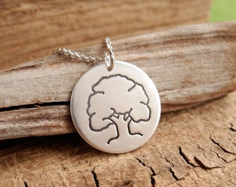 Oak Tree Necklace, Mighty Oak Strength Necklace, Fine Silver, Sterling Silver Chain, Made To Order