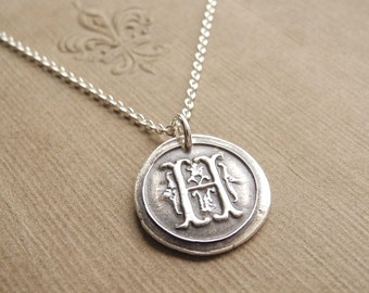 Wax Seal Monogram Necklace, Personalized Initial Necklace, Fine Silver, Sterling Silver Chain, Made To Order