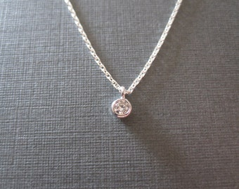 Silver Tiny CZ Round Charm Necklace