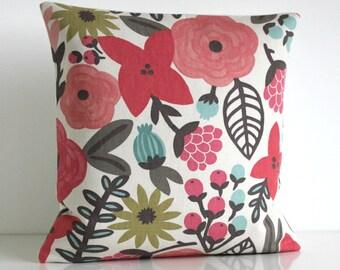 Floral Pillow Cover, 16x16 Cushion Cover, 16 Inch Pillow Sham - Potpourri Zest