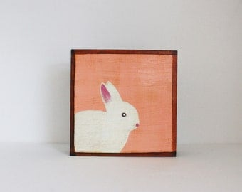 rabbit wall art- 5x5 art block- coral nursery decor- bunny- kids room decor- coral art- redtilestudio