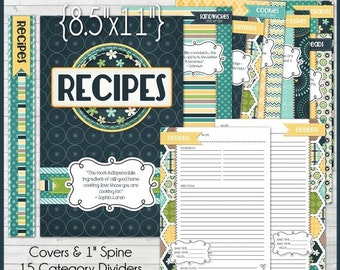 RECIPE BINDER Kit Printables (NAVY), Recipe Book, Recipe Printables, Recipe Kit, Full Size, 8.5x11 - Printable Instant Download