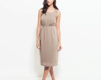 Midi printed dress, loose fit summer dress, belted Linen dress, sun dress, midi summer dress, formal sleeveless
