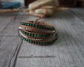 5 Wrap Jade Bracelet Simulated Leather Bracelet Wrap Bracelet Beaded Strand Silver Nuggets Bracelet 10778