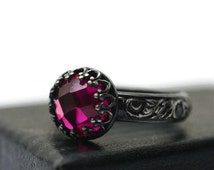 Ruby Engagement Ring, Renaissance Style, Oxidized Silver Jewelry, Floral Band, Dark Pink Jewel Ring