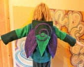 BEETLE BUG Hoodie with Spiral Pixie Fairy Faerie Elf Psy Magical Leafy Children's Hoodie with WINGS