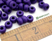 Wood Beads, Dark Purple Wood Crow Beads, Hemp Macrame Beads, 6x10mm, 50pc