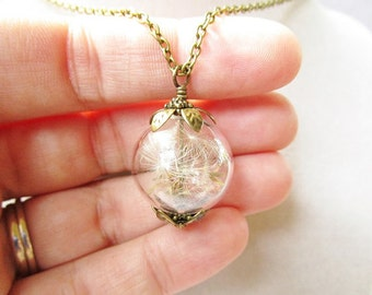 Dandelion Seed Glass Orb Terrarium Necklace, Small Orb in Bronze or Silver, Bridesmaid Gifts, Hipster Fashion