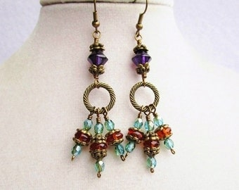 Purple Teal & Amber Czech Glass and Textured Bronze Ring Dangly Cluster Earrings, Gift Box