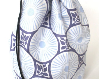 SALE - Drawstring bag - small reversible - knitting bag - blue/purple/grey flowers & paws