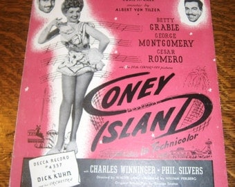 Put Your Arms Around me Honey 1940s Vintage Sheet Music From the Movie Coney Island Starring Betty Grable George Montgomery and Cesar Romero