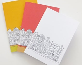 Amsterdam notebook, A5 journal, Recycled Notebook, Summer Notebook, Gift for travellers - travel journal, monochrome