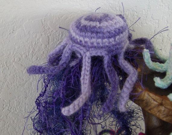 Crochet Jellyfish : ... Jellyfish Amigurumi -Crochet Art Home Decor Jellyfish Plush- Crochet