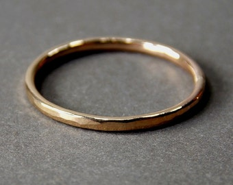 14K Yellow Gold Ring, Skinny Gold Stacking Ring, Solid 14K Yellow Gold Ring - Made to Order