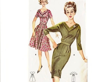 1960s Sheath Dress Pattern Fit and Flare Dress Portrait Neckline Bust 36 Size 16 Butterick 9829 Womens Vintage Sewing Pattern