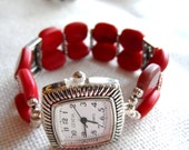 Beaded stretchy Red Glass Wrist Watch