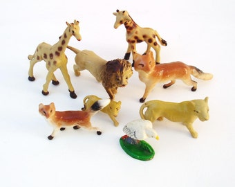 Vintage Zoo Animal Figurines  / Resin Kids Toys - Giraffe Lion Fox Lion Pelican / Miniature Figures Lot of 8