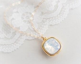 Crystal Necklace in White Opal . cushion cut white opal swarovski rhinestone . 14k gold filled chain