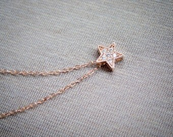 Rose Gold Cubic Zirconia Star Necklace . 14k rose gold filled chain . tiny CZ star charm . dainty necklace